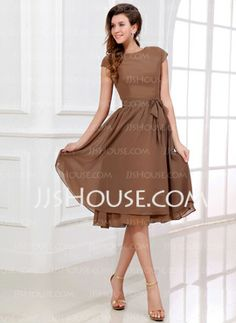 A-Line/Princess Scoop Neck Tea-Length Chiffon Bridesmaid Dresses With Sash (007017303)