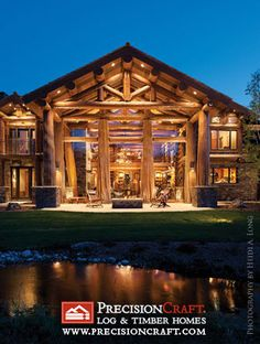 log home exterior with tree collumns