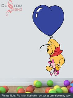 X-Large Winnie Pooh & Piglet Pooh Disney Cartoon Wall Sticker Art Vinyl Mural Full Colour 1000mm x 500mm Custom Sizes Available