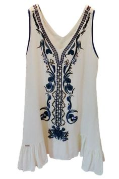Beaded Beach Dress With With Embroidered Detail