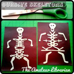 cursive signature skeleton craft.  best instructions/pictures