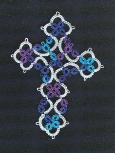 Shuttle Tatted lace cross