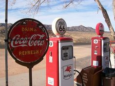 Route 66, Arizona. The Hackberry General Store - a colorful collection of junked cars, rusted signs and old-time gas pumps.