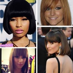 Love the #short #bob pure black hairstyle inspired by #Nicki #Minaj! black hairstyles, bob pure, hairstyl inspir, short hairstyl, short bobs