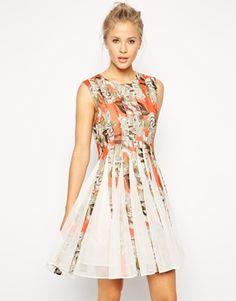 ASOS Floral Mesh Insert Dress