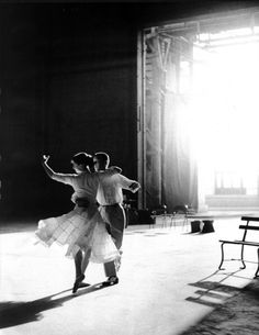 Audrey Hepburn and Fred Astaire rehearse one of their dance routines for the movie Funny Face, 1956.