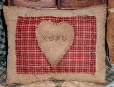 Primitive Grungy Hugs and Kisses Heart Valentine's Pillow