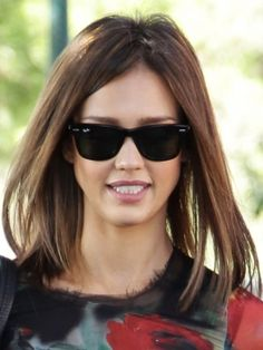 Jessica Alba - long shoulder-skimming bob straight and simple. Her long bob is styled from an off-center part and drawn forward, while ends are defined with a lightweight styling paste. I thnk I'll get this hairstyle when I'm a mom too lol.