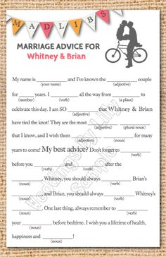 Printable Wedding Mad Libs — Wedding Ideas, Wedding Trends, and Wedding Galleries shower games, idea, guest books, madlib, wedding showers, weddings, mad libs, marriage advice, bridal showers
