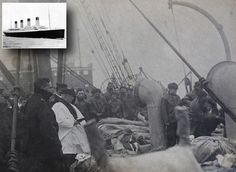 TITANIC DISASTER PHOTO...This haunting black and white photograph taken on board the Mackay Bennett body recovery ship following the Titanic disaster shows a mass funeral for dozens of the dead being buried in the Atlantic Ocean. The image - which has been discovered a century on from the disaster in 1912 - shows body bags stacked on the windswept deck while two crewman tip up a stretcher to drop a victim over the side. histori, photographs, seas, titan victim, news, ships, deck, rare photos, rms titan