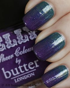 Mardi Gras Nails created by layering CND -Urban Oasis and Teal Sparkle with Butter London - Stroppy