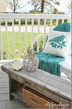 City Farmhouse Front Porch View decor, vintage picnic, bench with throw, rustic benches, front porch, diy, benchcoffe tabl, pillows, picnic baskets