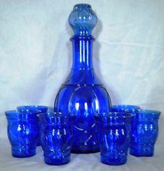 "Depression glass cobalt blue ""Ring-o-rings"" decanter set"