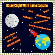 Galaxy Game Board Game Capsule (Bundle...With Complete Lesson Plans) from Socrates Lantern on TeachersNotebook.com -  (183 pages)  - Dolch Sight Word Bundle Grade 4. Includes games  Galaxy Space Shot Board Game, Concentration, War, Flash Cards, Writing Prompts & more.  A large number of pages.