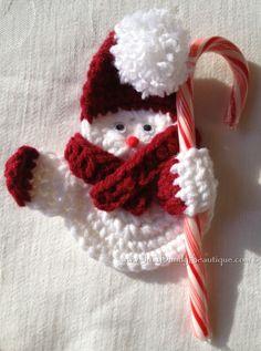 Crocheted Snowman Ornament  Buy online at www.justdandybeautique.com!