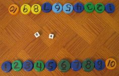 ADDITION:  Add 2 dice; flip over milk cap with number on it.  First to flip them all wins!