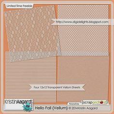 Quality DigiScrap Freebies: Hello Fall Vellum paper pack freebie from Kristin Aagard