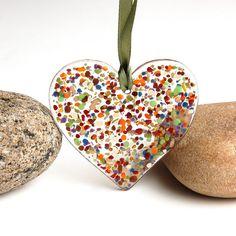 fused glass hearts   Fused Glass Heart Suncatcher Ornament by buffaloartglass on Etsy