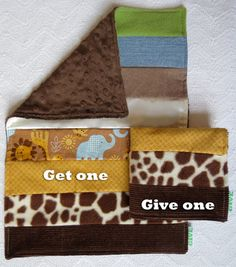 Baby Boy Sensory Security Blanket  Lovey - wild kingdom - Get One, Give One to babies in Kenya, $30.00