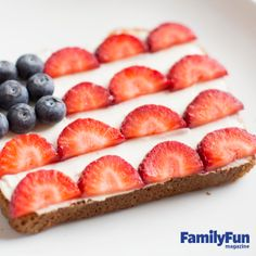 The Breakfast of Patriots: Our edible stars and stripes are a nutritious way to start a Fourth of July morning. For each flag, toast a piece of bread. Spread on a layer of low-fat cream cheese, then press on blueberry stars and sliced strawberry stripes as shown.
