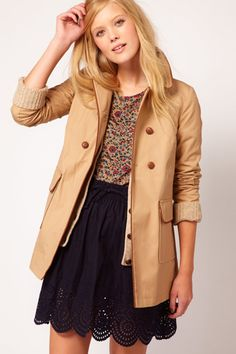 contrast trim, tans, skirts, nw3 raincoat, trim detail, fall outfits, fall jackets, work outfits, trench coats