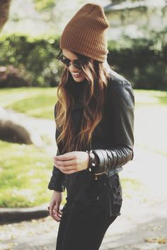 Caramel colored beanie and leather beanies style, black leather outfit, beanie outfits, beanie coat, fall outfits, black tee outfit, leather jackets, black beanie outfit, fall beanie outfit