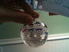 Homemade Handprint Snowman Christmas Ornament.