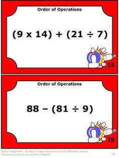Order of Operations: These Order of Operations task cards are a great alternative to worksheets! You will receive 30 math task cards focusing on the order of operations. There are also Aunt Sally (PEMDAS) anchor cards to support students in understand the order of operations. A student response form is provided along with an answer key.  Common Core Order of Operations Skills: CCSS.Math.Content.5.OA.A.1  CCSS.Math.Content.6.EE.A.2c