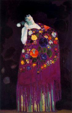 En esta 2da etapa parisina tb hace sofisticados retratos y mujeres con mantones y motivos florales #AngladaCamarasa