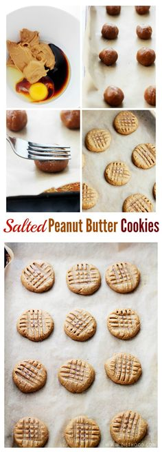Made with just a few ingredients, these Peanut Butter Cookies are fudgy, sweet & salty, gluten free and naturally sweetened! @diethood