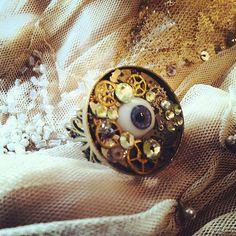 Bio Mechanical Evil Eye filigree Ring a Steampunk by gigideluxe, $75.00