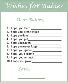 #Free #Printable #Wishes #for #Girl & #Boy #Twins.  Click for more baby shower games for twins.
