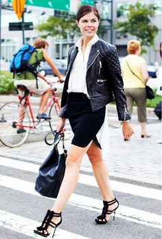 Into the Gloss looks super fresh in her black moto jacket and strappy stilettos. // #Style