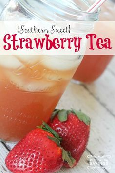 This Strawberry Tea Recipe is perfect for Summer! If you are looking for Fruit Iced Tea Recipes this Fresh Strawberries Recipe with Sweet Tea is perfect!