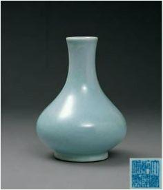 清代 - 乾隆倣汝窯 天藍釉荸薺瓶