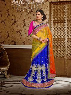 USD 135.79 Yellow and Blue Cotton Silk Wedding Lehenga Saree   33723