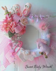 Pink Gingham Baby Wreath Baby Shower Gift Baby by HungUpOnWreaths