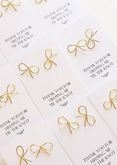Knot studs: with cute packaging that reads, 'thank you for helping me tie the the knot'