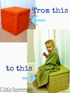 Buy a storage cube at Target, take 1 yard of fabric and recover using a staple gun. No Sewing Necessary!