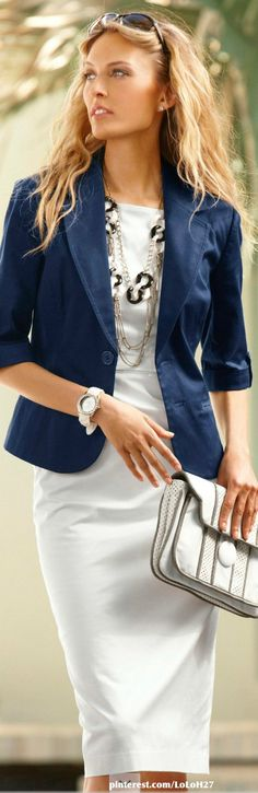 White and blue - City style - Chic and sexy woman in blue jacket and white - #Thejewelryhut