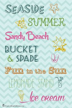 A Typical English Home: Summer Fonts