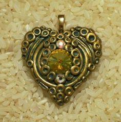 Victorian style heart pendant polymer clay with large Swarovski Rivoli crystal