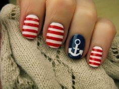Anchor nails nail designs, manicur, summer nails, nail arts, 4th of july, nail tutorials, sailor, anchor, nautical nails