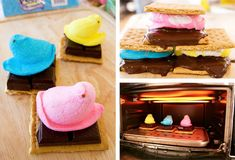 s'mores made with peeps. oh yeah!