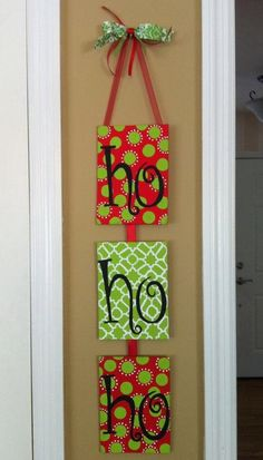christmas door hanger out of 3 small canvases