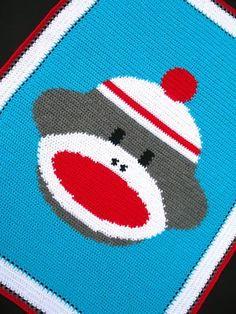 Crochet Patterns - SOCK MONKEY Afghan Pattern **EASY**
