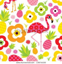 Seamless exotic pineapple and flamingo kids illustration summer background pattern in vector by Maaike Boot, via Shutterstock