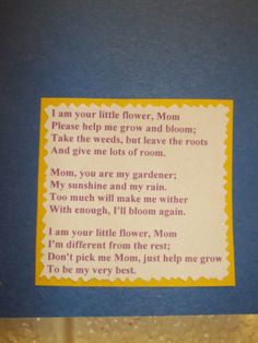 Poem used for the Loopy Flower. I found the poem online, but it didn't have an arthor that I could find. I try and give credit where due!
