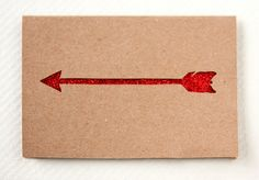 Ruby Red Arrow Card - Paper Cut Greeting with glitter. $6.00, via Etsy.
