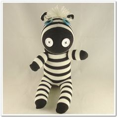 Handmade Sock Zebra Stuffed Animal Doll Baby Toys. $14.99, via Etsy.